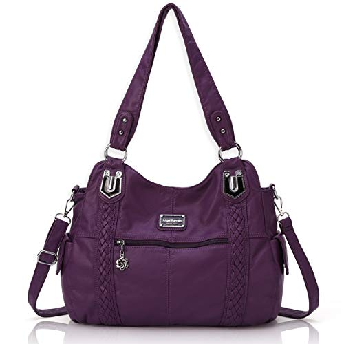 - Angel Barcelo Roomy Fashion Hobo Womens Handbags Ladies Purse Satchel Shoulder Bags Tote Washed Leather Bag Purple