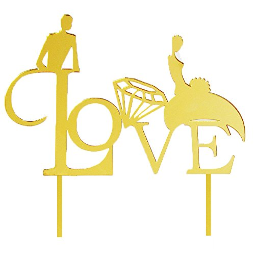 Coolfm Personalized Wedding Bride and Groom Silhouette Wedding Cake Topper (LOVE