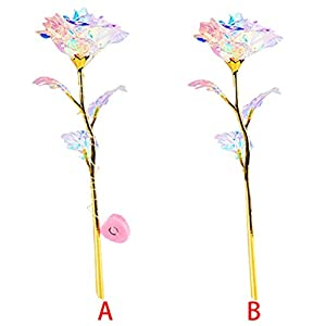 Dartphew Colorful Luminous Rose Artificial LED Light Flower Unique Gifts for Girls Mother's Day Thanksgiving Valentine's Day Girl's Birthday Party Best Gifts Wife Girl Friend Women Wedding Romantic 78