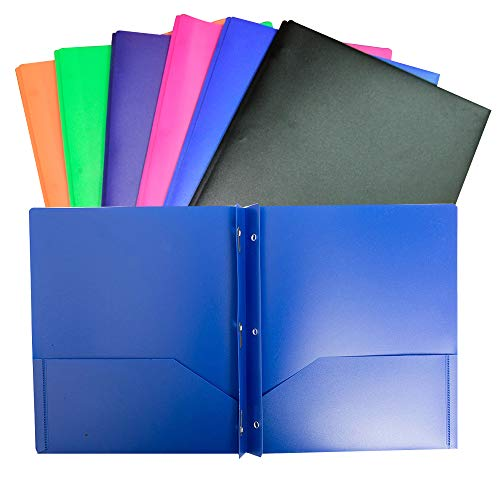 6 Pack Multicolor Plastic Two Pocket Folders, Plastic Folders with 2 Pockets Plastic folders for School, Home, and Work, 6 Pack Plastic folders -