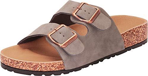 Cambridge Select Women's Classic Open Toe Buckled Two-Strap Slip-On Flat Slide Sandal,7 B(M) US,Stone NBPU ()