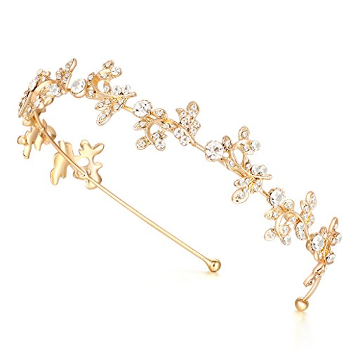 Ammei Gold Headband Bridal Tiara Flower Shape Womens Headpiece Wedding Hair Accessories (Gold)