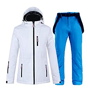 PEIN Men/Woman/Ski Suits/Jacket And Pants/Windproof And Waterproof Outdoor Clothes/Winter Sports/white Top/Blue Pants/Couple Suit,ski suits-M