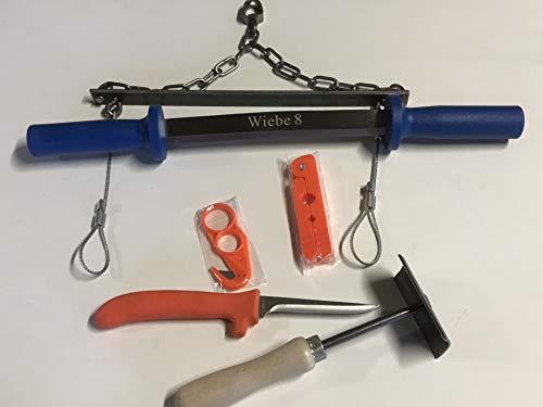 Fleshing Tool - Wiebe 8 inch Two Handed Flesh Knife 6 Pc Fur Handling Kit by Fox Pro Snares LLC.