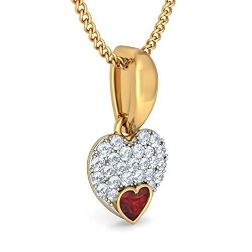 Or jaune 18K 0,2CT TW Round-cut-diamond (IJ | SI) et grenat Pendentif
