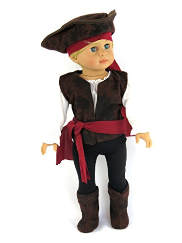 Custom Girl Halloween Costumes (Boy- Pirate Buccaneer 7PC. Halloween Costume| Fits 18