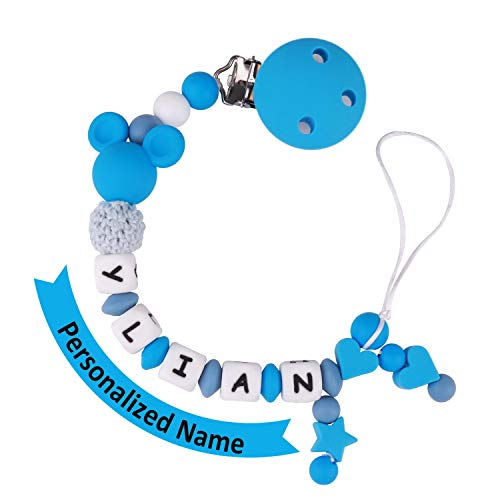 Pacifier Clip Personalized Name, MCGMITT Customized Binky Holder Teething Silicone Beads Toys for Baby Girls Boys Toddler (Blue)