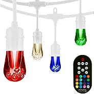 Enbrighten 39511 Vintage Seasons LED Warm White & Color Changing Café String Lights, White, 24ft, 12 Premi