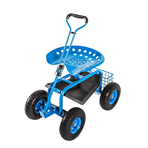 Kinbor Garden Cart Rolling Work Seat with Tool Tray Outdoor Utility Lawn Patio Yard Wagon Scooter for Planting with Adjustable Handle 360 Degree Swivel Seat, Blue