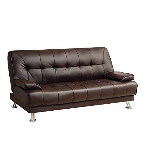 Metal Sofa Traditional (Benzara BM166079 Traditional Style Leatherette Sofa Futon, Dark Brown)