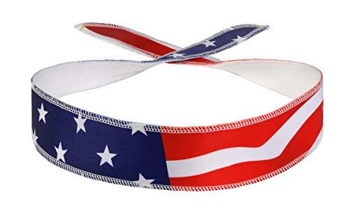 Halo Headband Sweatband Tie USA Flag (Head Band Usa)