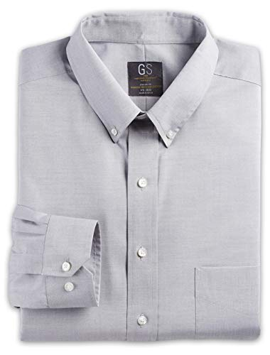 (Gold Series by DXL Big and Tall Wrinkle-Free Cool and Dry Solid Pinpoint Dress Shirt, Grey 22 37/38)