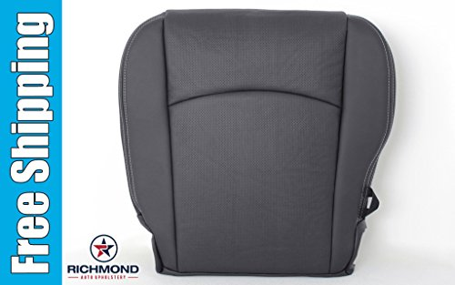2009 Dodge Ram 1500 Laramie Crew-Cab - Driver Bottom Replacement Leather Seat Cover: Dark Gray (Cab Leather)