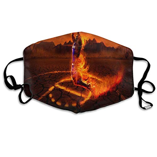 Face Mask Fire Basketball Black  Cool Cycling Half Face Earloop Face Mask for Man
