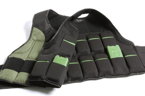 HumanX 20 Pound Weight Vest, One Size, Black/Green