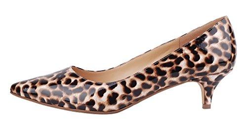 Verocara Kvinders 1.77inch Killing Hæl Spidse Tå Ægte Læder Aftenkjole Pumps Leopard JWgHb1