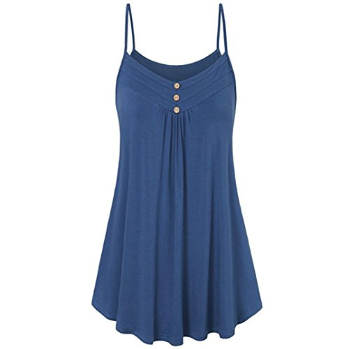 FORUU Wedding Womens Summer Loose Button V Neck Cami Tank Tops Vest Blouse (5XL, Blue)