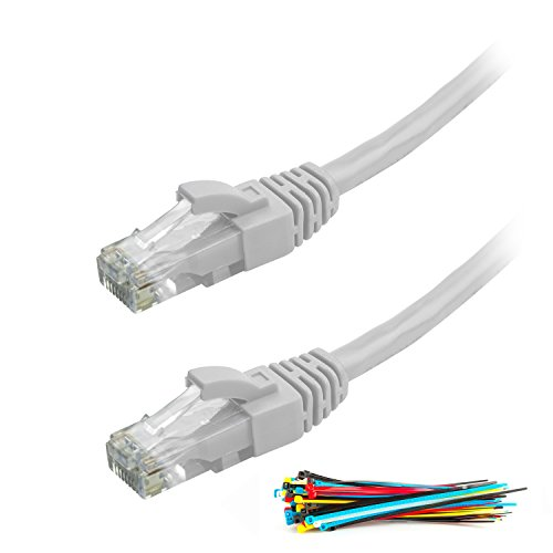 Aurum Cables Cat6 Snagless Network Ethernet Patch Cable - 15 Feet - 10 Pack - White - White Patch Handle