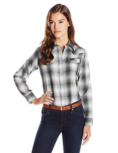 (Wrangler Women's Western Fashion Shirts, Black Plaid, Small)