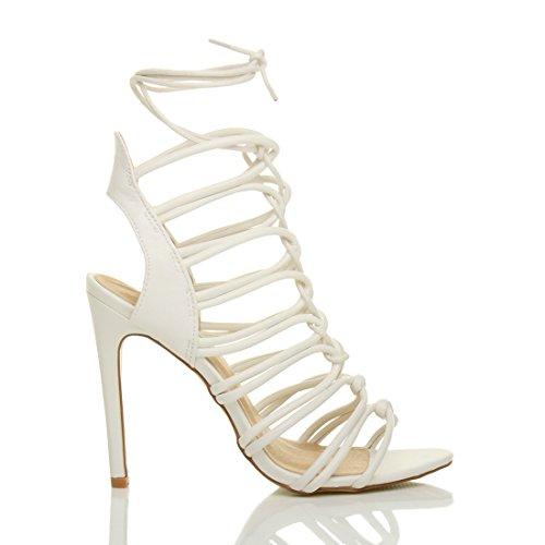 Sandals White Matte Size Shoes Ghillie Women High Heel Ajvani xwFnC0qIW