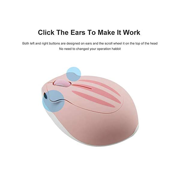 24ghz Wireless Mouse Cute Hamster Shape Less Noice Portable Mobile Optical 1200dpi Usb Mice Cordless Mouse For Pc Laptop Computer Notebook Macbook Kids Girl Gift Pink