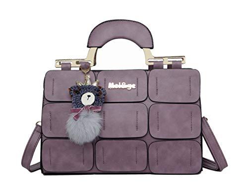 Coofig Women Tote Bag PU Leather Handbags Top Handle Satchel Purse Shoulder Bag Boston Bag (Purple) ()