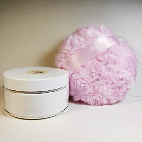 Carnation Scented Silk Dusting Powder Set - 8 oz Jar Talc Free - Silky Pink Body Puff