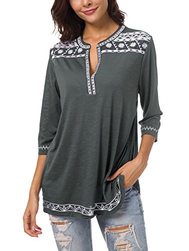 (Women's 3/4 Sleeve Boho Shirts Embroidered Peasant Top (S, Deep Gray))