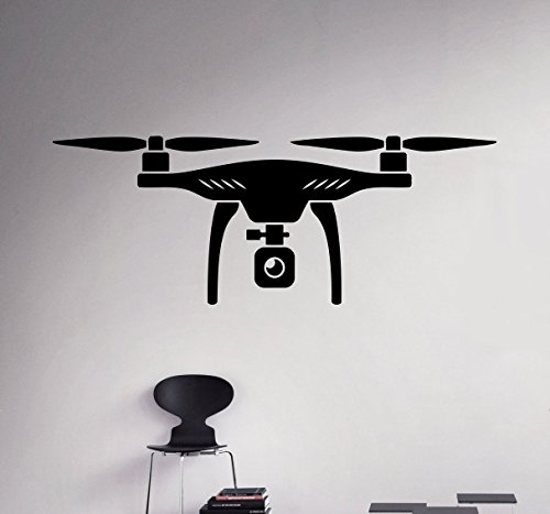 Air Drone Wall Vinyl Decal Quadcopter Wall Sticker Aircraft Home Wall Art Decor Ideas Interior Removable Kids Room Design 1(drn) by Wall Vinyl Decals