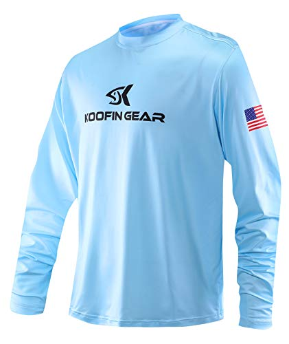 Performance Fishing Shirt Sun Protection Shirt UPF50 Outdoor Long Sleeve Dry-Fit Athletic Shirts US Flag Blue (Fishing Brand Shirts)