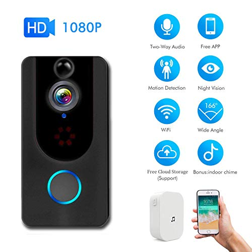1080P Wireless WiFi Doorbell Camera with Motion Detector Security Camera with PIR Monitor Detection Lifetime Free Cloud Two-Way Audio&Night Vision for iOS and Android App Control (Video Doorbell)