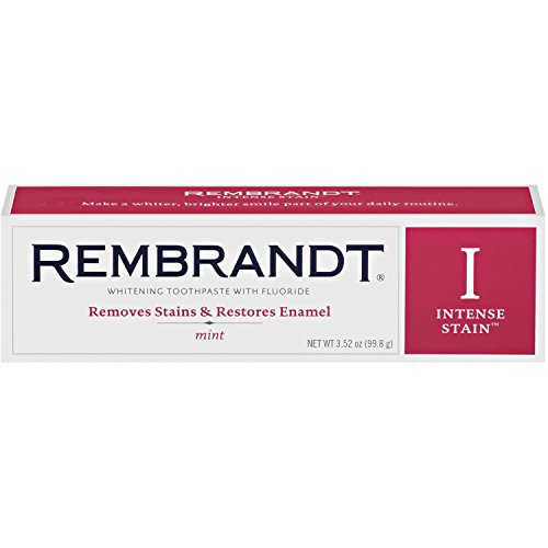 Rembrandt Intense Stain Whitening Mint Toothpaste, 3 OZ (Pack of 6) by Rembrandt