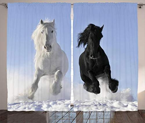 Ambesonne Animal Decor Collection, Competing Racing Black and White Horses on the Snow Good and Evil Mythical Symbolic Creatures, Living Room Bedroom Curtain 2 Panels Set, 108 X 84 Inches, Blue by Ambesonne (Image #2)