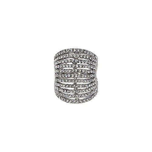 11 Rows Ring Fashion Crystal Cocktail Wedding Party Jewelry for women (Silver, (Crystal Cocktail Ring)