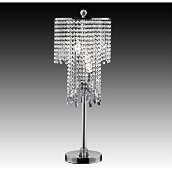 Crystal Bead Curtain Chrome Table Lamp - Topline Furniture
