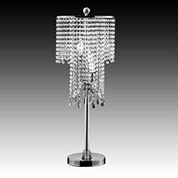 Crystal Bead Curtain Chrome Table Lamp Topline Furniture Amazon Com