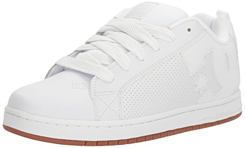 DC Men's Court Graffik Skateboarding Shoe, White/White/Gum, 7 D US