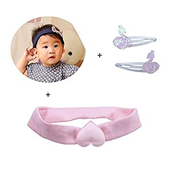 KimmyKu 3 PCS Pink Navy Baby Headbands and Iridiscent Swan Hair Clip Set