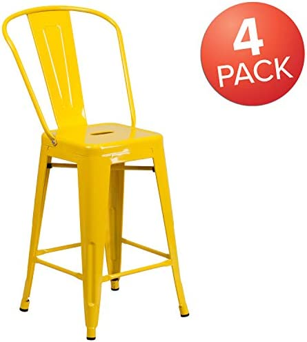 Flash Furniture Commercial Grade 4 Pack 24″ High Yellow Metal Indoor-Outdoor Counter Height Stool