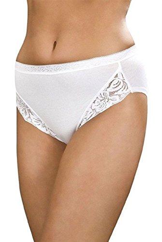 3 Pairs Maxi Lace Briefs 95% Cotton White Size 12