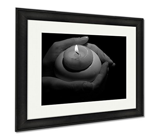 Ashley Framed Prints Burning Candle In Hands Isolated On Black, Modern Room Accent Piece, Black/White, 34x40 (frame size), Black Frame, AG6514321 by Ashley Framed Prints
