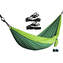 OYISIYI Outdoor Camping Hammock, Portable Double Parachute Hammocks Multifunctional Lightweight Nylon Parachute Travel Hammock, Steel Carabiners, Tree Straps, Carrying Bag Included
