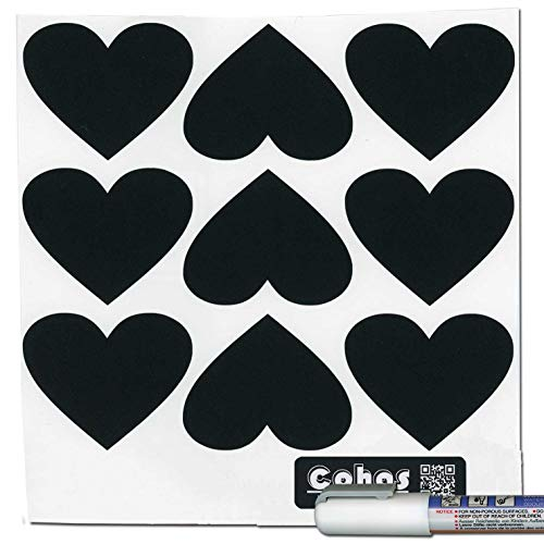 (Cohas Chalkboard Labels in Heart Shape includes Liquid Chalk Marker and 27 Labels, Fine Tip, White Marker)