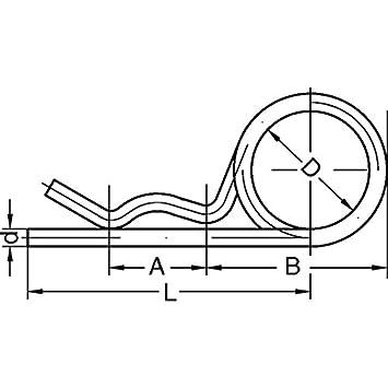 Federstecker, doppelt Drahtdurchmesser 3,6 mm galv. verzinkt - DIN ...