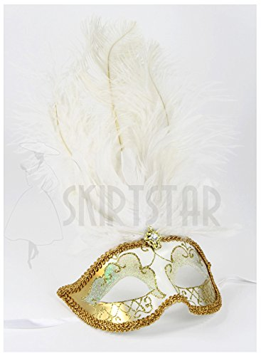Largemouth Women's Feather Topped Masquerade Mask (Gold/White Nose)