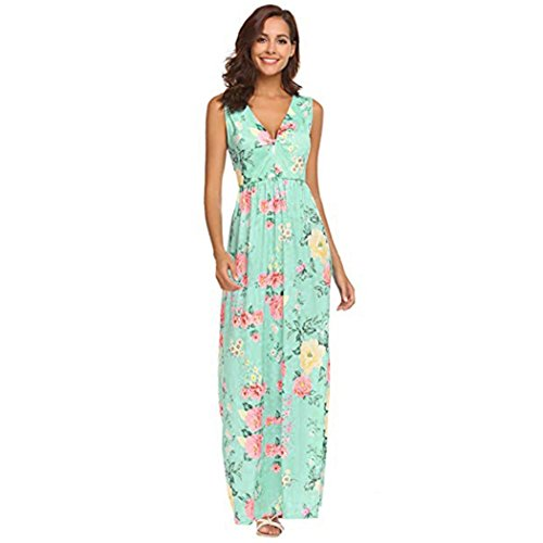 FEITONG Women's Summer Floral Printed V Neck Sleeveless Maxi Casual Long Dress(XX-Large,Green) by FEITONG