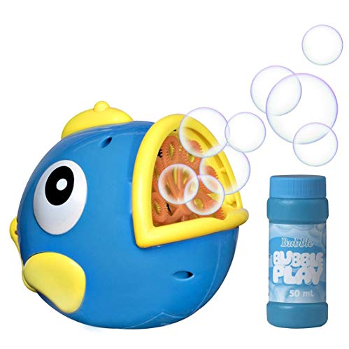 Bubble Play Bubble Fish - Powerful Battery Operated Bubble Blowing Machine for Kids w/ Large 50ml Soap Capacity & Motorized Rotating Wand System for 100's of Bubbles Per Minute - Perfect for Parties! by Bubble Play