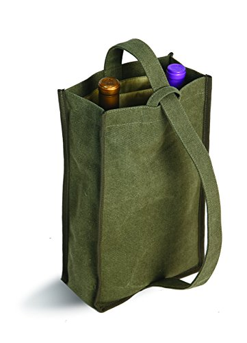 (Soft Washed Canvas With Center Divider Double Bottle Tote Hold Up to 2 Wine Or Spirits Bottles (Sage))
