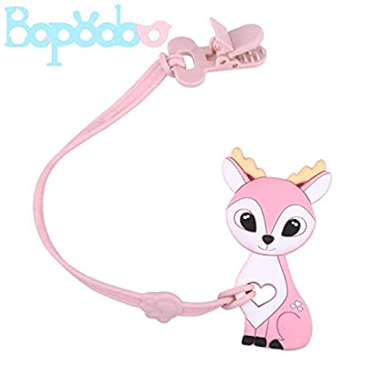 bopoobo Baby Silicone Pacifier Clip with Teether Toys Deer Shape BPA Free Teething Pendant Safe Plastic Clip Binky Holder Set for Infants and Toddlers: Toys & Games