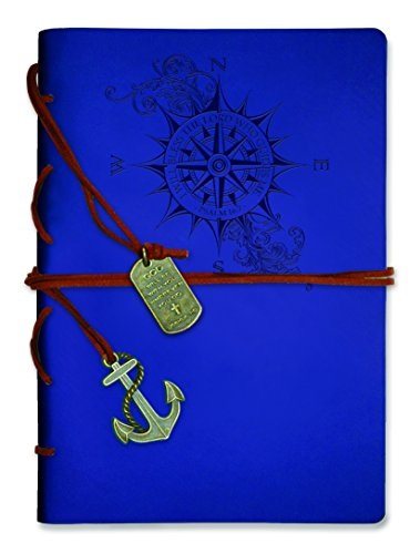 Wrapped Journal (Journal-Leather Wrapped-Royal Blue Compass)